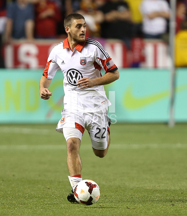 Chris Korb #22 of D.C. United moves the ball down filed during a game against Real Salt Lake during the first half of the U.S. Open Cup Final on October  1, 2013 at Rio Tinto Stadium in Sandy, Utah.