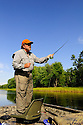 00416-031.08 Fishing: Fly angler is casting from jon boat in river.  Smallmouth, trout, largemouth, bass, pike.