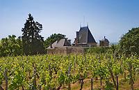 The vineyard and rooftop of Chateau Ausone Saint Emilion Bordeaux Gironde Aquitaine France