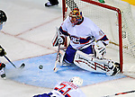15 November 2008:  Montreal Canadiens' goaltender Jaroslav Halak from Slovakia makes a save in the third period against the Philadelphia Flyers  during their first meeting in Montreal since the Flyers knocked the Canadiens out of the playoffs last season. The Canadiens, celebrating their 100th season, defeated the visiting Flyers x-x at the Bell Centre in Montreal, Quebec, Canada. ***Editorial Sales Only***..Mandatory Photo Credit: Ed Wolfstein Photo *** Editorial Sales through Icon Sports Media *** www.iconsportsmedia.com