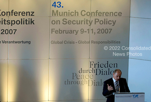 """Russian president Vladimir Putin delivers his remarks, """"Russia's Role in World Politics,"""" during the 43rd Annual Conference on Security Policy in Munich, Germany, Feb. 10, 2007.  The theme for the conference is """"Global Crisis-Global Responsibilities.""""   Defense Dept. photo by Cherie A. Thurlby (released)"""