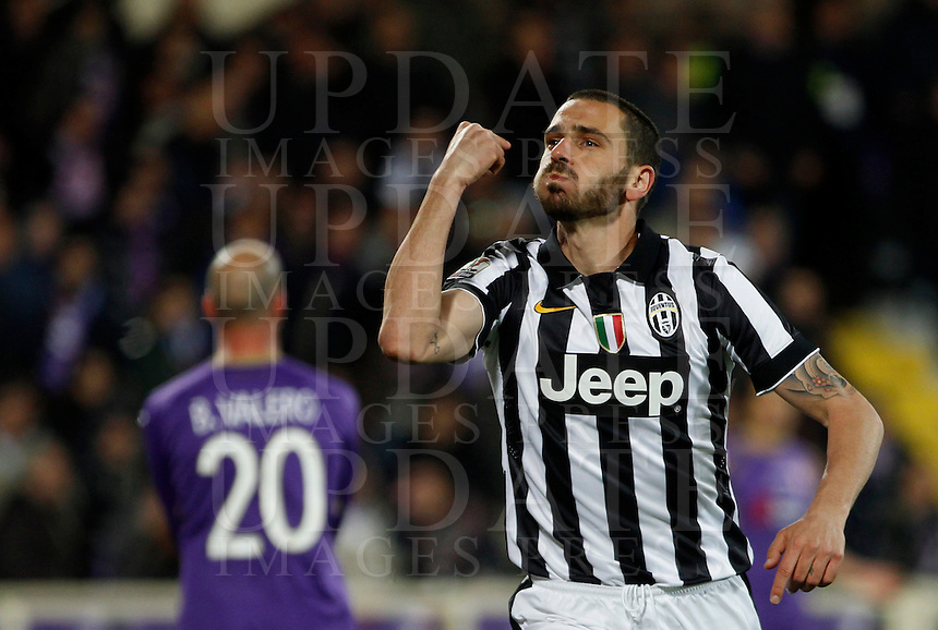 Calcio, Coppa Italia: semifinale di ritorno Fiorentina vs Juventus. Firenze, stadio Artemio Franchi, 7 aprile 2015. <br /> Juventus' Leonardo Bonucci celebrates after scoring during the Italian Cup semifinal second leg football match between Fiorentina and Juventus at Florence's Artemio Franchi stadium, 7 April 2015.<br /> UPDATE IMAGES PRESS/Isabella Bonotto