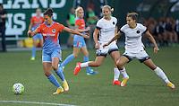 Portland, Oregon - Wednesday September 7, 2016: Houston Dash forward Carli Lloyd (10) controls a ball during a regular season National Women's Soccer League (NWSL) match at Providence Park.