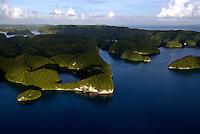 Aerials over the Rock islands at sunset in Palau Micronesia
