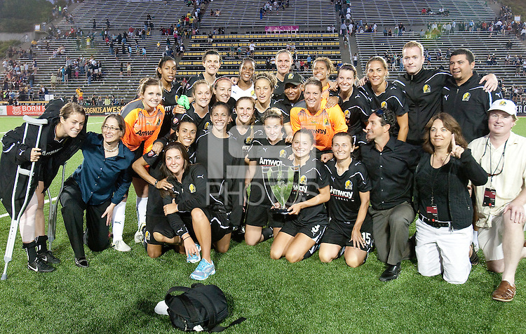 FC Gold Pride smile with the WPS regular season trophy after the game. Regular season champions, FC Gold Pride defeated the Philadelphia Independence 4-1 at Pioneer Stadium in Hayward, California on September 11th, 2010.