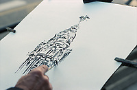 Drawing of the city of Madrid