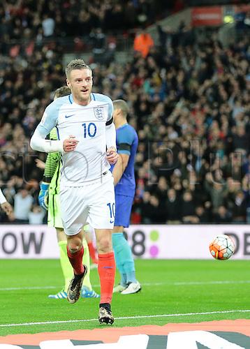 29.03.2016. Wembley Stadium, London, England.  International Football Friendly England versus Netherlands. England Forward Jamie Vardy scores England's first past Netherlands Goalkeeper Jeroen Zoet, 1-0 England