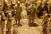 Terracotta warriors in Xian, Shaanxi province, China.