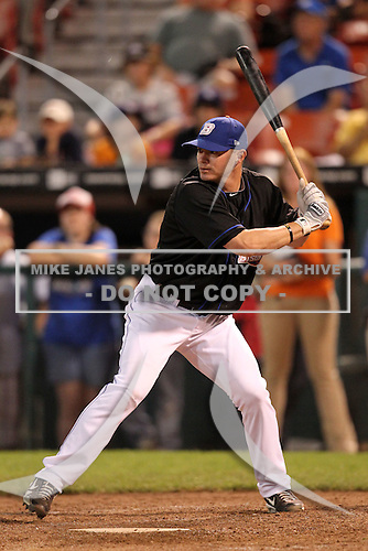 Buffalo Bisons Russ Adams participates in a post game home run derby after a game vs. the Lehigh Valley IronPigs at Coca-Cola Field in Buffalo, New York;  August 1, 2010.  Buffalo defeated Lehigh Valley 2-1 in 10 innings.  Photo By Mike Janes/Four Seam Images