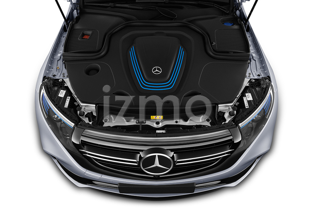 Car stock 2019 Mercedes Benz EQC AMG-Line 5 Door SUV engine high angle detail view