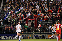 Portland Thorns fans celebrate a goal during the National Women's Soccer League (NWSL) finals at Sahlen's Stadium in Rochester, NY, on August 31, 2013.