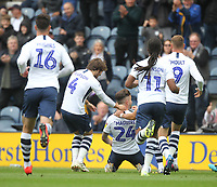 Preston North End's Sean Maguire celebrates scoring his sides first goal <br /> <br /> Photographer Mick Walker/CameraSport<br /> <br /> The EFL Sky Bet Championship - Preston North End v Wigan Athletic - Saturday 10th August 2019 - Deepdale Stadium - Preston<br /> <br /> World Copyright © 2019 CameraSport. All rights reserved. 43 Linden Ave. Countesthorpe. Leicester. England. LE8 5PG - Tel: +44 (0) 116 277 4147 - admin@camerasport.com - www.camerasport.com