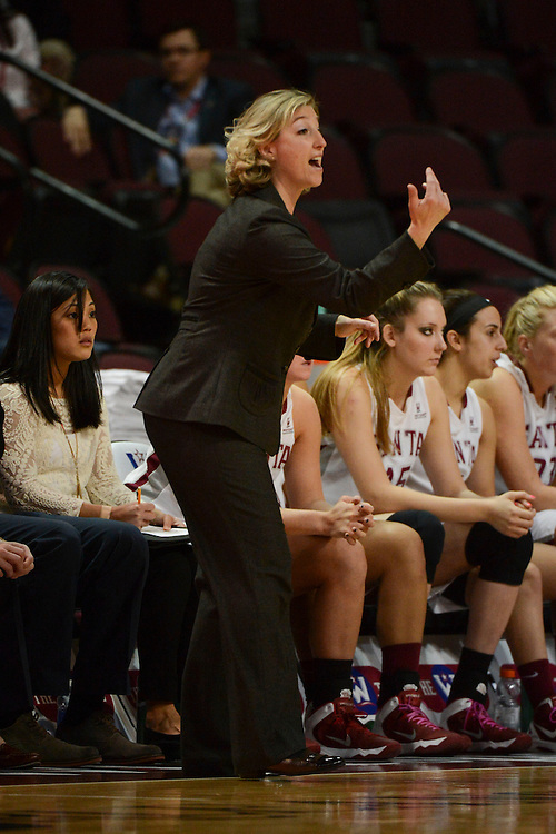 March 6, 2014; Las Vegas, NV, USA; Santa Clara Broncos head coach Jennifer Mountain instructs against the Pepperdine Waves during the second half of the WCC Basketball Championships at Orleans Arena. The Waves defeated the Broncos 80-74.