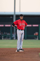AZL Angels third baseman Bernabe Camargo (64) stands on second base during an Arizona League game against the AZL Indians 2 at Tempe Diablo Stadium on June 30, 2018 in Tempe, Arizona. The AZL Indians 2 defeated the AZL Angels by a score of 13-8. (Zachary Lucy/Four Seam Images)
