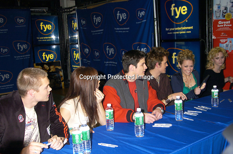 Chad Michael Murray, Sophia Bush, James Lafferty, Tyler Hilton, Bethany Joy Lenz and Hilarie Burton ..at an in-store signing with the cast of One Tree Hill for their..new CD and DVD at FYE Music Store  in New York City on January 25, 2005. ..Photo by Robin Platzer, Twin Images