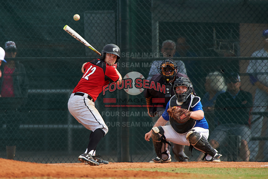 Edgewood College Eagles Tim Nunn (12) at bat in front of catcher Eli Fox during a game against the Illinois College Blueboys on March 14, 2017 at Terry Park in Fort Myers, Florida.  Edgewood defeated Illinois College 11-2.  (Mike Janes/Four Seam Images)