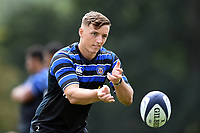 Darren Atkins of Bath Rugby passes the ball. Bath Rugby pre-season training on August 14, 2018 at Farleigh House in Bath, England. Photo by: Patrick Khachfe / Onside Images