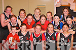 The Kenmare team in the girls basketball blitz in the Presentation Gym Killarney on Saturday front row l-r: Callum Brosnan (Mascot), Elizabeth Moriarty, Megan Harrington, Jasmin Bachosner, Carmen Balogova. Back row: Rachel Topham, Ann Maria Mahony, Claire O'Sullivan, Amy Riordain, Aoife O'Brien, Layla Mahony, Tricia Harrington, Annie Cooper, Ellie Gudgeon and Katie Cooper    Copyright Kerry's Eye 2008
