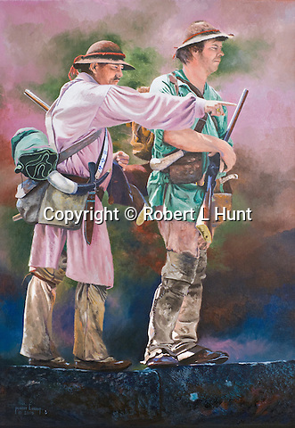 "Early woodland Indian traders and explorers Stephen Franks and John Hart finding their way through the 1700's colonial Pennsylvania frontier. These trailblazers were some of the first white men to move regularly amongst the native American peoples beyond the civilization of the eastern seaboard. Oil on canvas, 30"" x 21""."