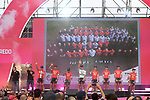 Trek-Segafredo team on stage at the Team Presentation before the 101st edition of the Giro d'Italia 2018. Jerusalem, Israel. 3rd May 2018.<br /> Picture: LaPresse/Fabio Ferrari | Cyclefile<br /> <br /> <br /> All photos usage must carry mandatory copyright credit (&copy; Cyclefile | LaPresse/Fabio Ferrari)