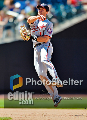 25 July 2012: Washington Nationals infielder Stephen Lombardozzi gets the final out against the New York Mets at Citi Field in Flushing, NY. The Nationals defeated the Mets 5-2 to sweep their 3-game series. Mandatory Credit: Ed Wolfstein Photo