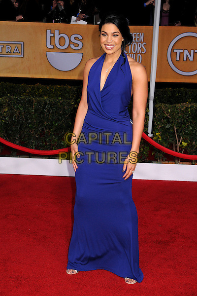 Jordin Sparks.Arrivals at the 19th Annual Screen Actors Guild Awards at the Shrine Auditorium in Los Angeles, California, USA..27th January 2013.SAG SAGs full length dress blue purple halterneck .CAP/ADM/BP.©Byron Purvis/AdMedia/Capital Pictures