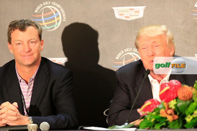 Gil Hanse and Donald Trump during the press conference at the WGC Cadillac Championship, Blue Monster, Trump National Doral, Miami, Florida,USA.<br /> Picture: Fran Caffrey www.golffile.ie