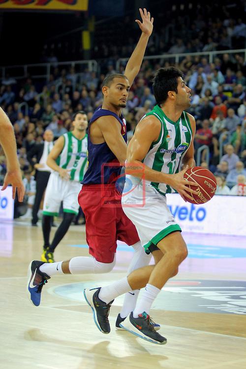 League ACB-ENDESA 2016/2017. Game: 5.<br /> FC Barcelona Lassa vs BEP-Real Betis Energia Plus: 80-58.<br /> Stefan Peno vs Vojdan Stojanovski.