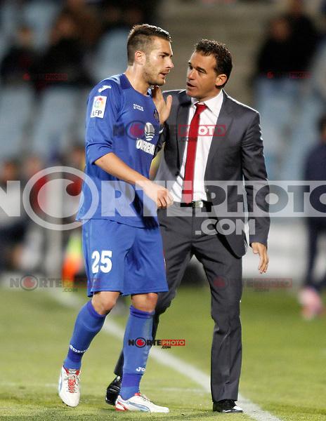 Getafe's coach Luis Garcia (r) and Xavi Torres during La Liga match.November 18,2012. (ALTERPHOTOS/Acero) NortePhoto