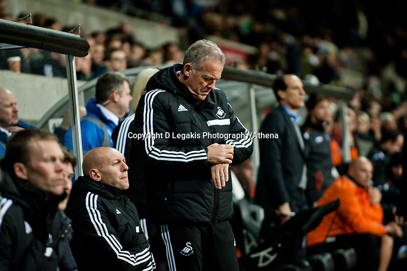 Thursday 28 November  2013  Pictured:Alan Curtis looks ahis watch in extra time<br /> Re:UEFA Europa League, Swansea City FC vs Valencia CF  at the Liberty Staduim Swansea