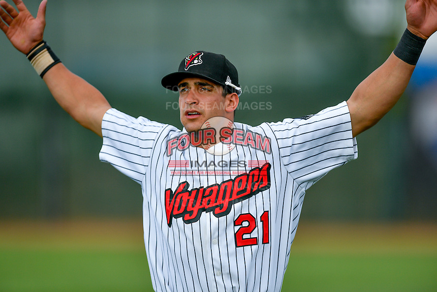 Pioneer League All-Star Aaron Schnurbusch (21) of the Great Falls Voyagers before the game against the Northwest League All-Stars at the 2nd Annual Northwest League-Pioneer League All-Star Game at Lindquist Field on August 2, 2016 in Ogden, Utah. The Northwest League defeated the Pioneer League 11-5. (Stephen Smith/Four Seam Images)