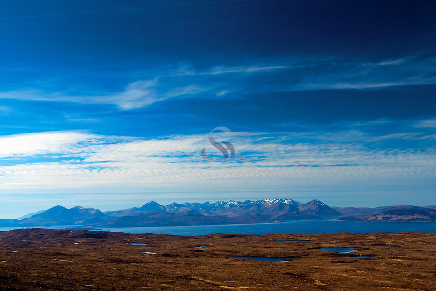 Raasay and Skye from the North Coast 500 on the Bealach na Ba near Applecross, Applecross Peninsula, Northwest Highlands