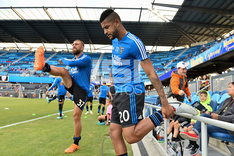 San Jose, CA - Wednesday August 29, 2018: Guram Kashia, Anibal Godoy prior to a Major League Soccer (MLS) match between the San Jose Earthquakes and FC Dallas at Avaya Stadium.