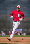 10 March 2014: Washington Nationals infielder Jamey Carroll warms up prior to a Spring Training game against the Houston Astros at Space Coast Stadium in Viera, Florida. The Astros defeated the Nationals 7-4 in Grapefruit League play. Mandatory Credit: Ed Wolfstein Photo *** RAW (NEF) Image File Available ***