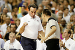 USA's coach Mike Krzyzewski (l) have words with the referee during friendly match.July 24,2012. (ALTERPHOTOS/Acero)