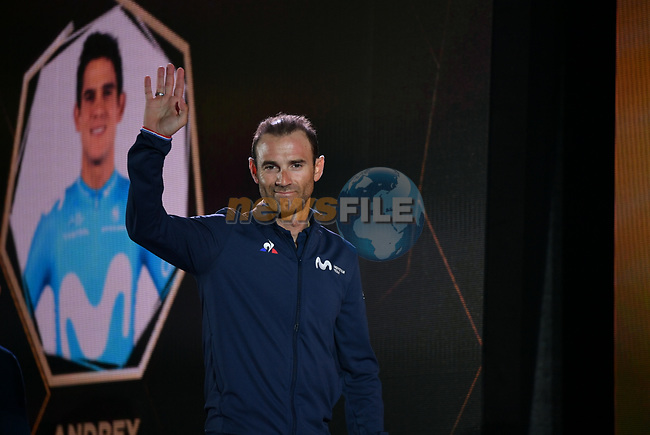 World Champion Alejandro Valverde (ESP) Movistar Team arrives on stage at the inaugural UAE Tour 2019 opening ceremony and team presentation held in the Louvre Abu Dhabi, United Arab Emirates. 23rd February 2019.<br /> Picture: LaPresse/Massimo Paolone  | Cyclefile<br /> <br /> <br /> All photos usage must carry mandatory copyright credit (© Cyclefile | LaPresse/Massimo Paolone)