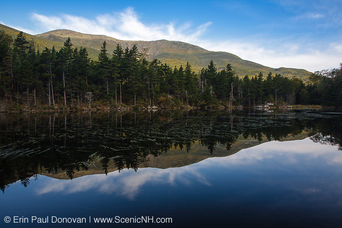 Reflection of Mount Washington and Huntington Ravine in Lost Pond during the last days of summer. This pond is located in Pinkham Notch of the New Hampshire White Mountains. And the Appalachian Trail travels on the side of the pond.
