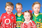 WHO'S GOING TO WIN?: There is growing rivalry between classmates ahead of the All-Ireland Final at Knockaclarig national school on the Cork-Kerry border, l-r: Cian Daly, Christopher Lane, Siobhan O'Connor, Chloe Lane.