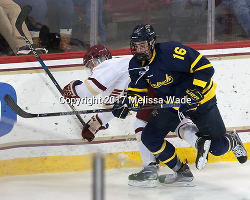 Jesper Mattila (BC - 8), Chris LeBlanc (Merrimack - 16) - The visiting Merrimack College Warriors defeated the Boston College Eagles 6 - 3 (EN) on Friday, February 10, 2017, at Kelley Rink in Conte Forum in Chestnut Hill, Massachusetts.