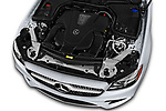 Car stock 2018 Mercedes Benz E Class E400 2 Door Convertible engine high angle detail view