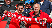 Fleetwood Town fans pose for a picture before kick off<br /> <br /> Photographer Alex Dodd/CameraSport<br /> <br /> The EFL Sky Bet League One - Fleetwood Town v Accrington Stanley - Saturday 15th September 2018  - Highbury Stadium - Fleetwood<br /> <br /> World Copyright &copy; 2018 CameraSport. All rights reserved. 43 Linden Ave. Countesthorpe. Leicester. England. LE8 5PG - Tel: +44 (0) 116 277 4147 - admin@camerasport.com - www.camerasport.com