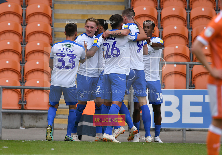 11/08/2018 Sky Bet League 1 Blackpool v Portsmouth<br /> Ronan Curtis congratulated  after scoring Portsmouth's first goal