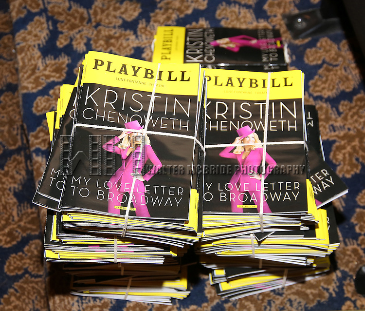 Theatre atmosphere with playbills during the Opening Night of Kristin Chenoweth - 'My Love Letter To Broadway'  at the Lunt-Fontanne Theatre on November 2, 2016 in New York City.
