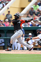 Miami Marlins outfielder Marcell Ozuna (13) during a Spring Training game against the Detroit Tigers on March 25, 2015 at Joker Marchant Stadium in Lakeland, Florida.  Detroit defeated Miami 8-4.  (Mike Janes/Four Seam Images)