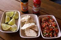 Honduran condiments in a restaurant, Santa Rosa de Copan, Honduras.