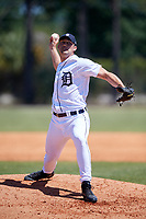 Detroit Tigers pitcher John Hayes (59) during a Minor League Spring Training game against the Atlanta Braves on March 22, 2018 at the TigerTown Complex in Lakeland, Florida.  (Mike Janes/Four Seam Images)