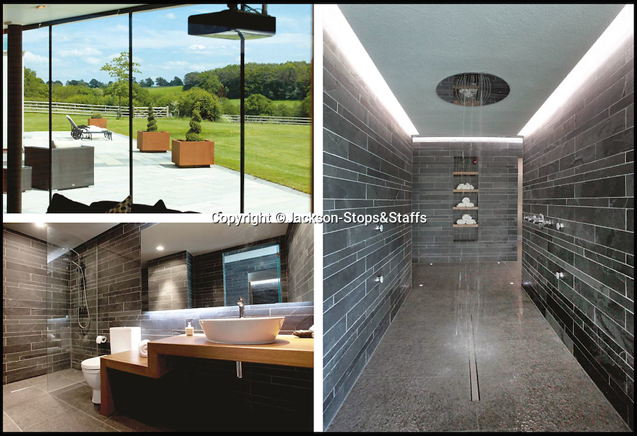 BNPS.co.uk (01202 558833)<br /> Pic: Jackson-Stops&Staff/BNPS<br /> <br /> Huge shower...<br /> <br />  For sale - Super home with its own leisure centre attached.<br /> <br /> The buyers of this stunning country property will never need to leave home again - with their own leisure complex at their fingertips.<br /> <br /> Birchwood House in Hoar Cross, Staffs, is a bespoke five-bedroom house that makes the most of the incredible countryside surrounding it with floor to ceiling windows in most rooms.<br /> <br /> But the really unusual selling feature is its unsurpassed leisure suite with a purpose-built gym, 15-metre swimming pool, sauna and steam room. <br /> <br /> It might save you a fortune in gym fees, but any wannabe owners will need £2.75million to get their hands on this cutting edge, contemporary pad.<br /> <br /> The house also has a media room which currently has a pool table and a home cinema, meaning you really could settle in for the long haul.