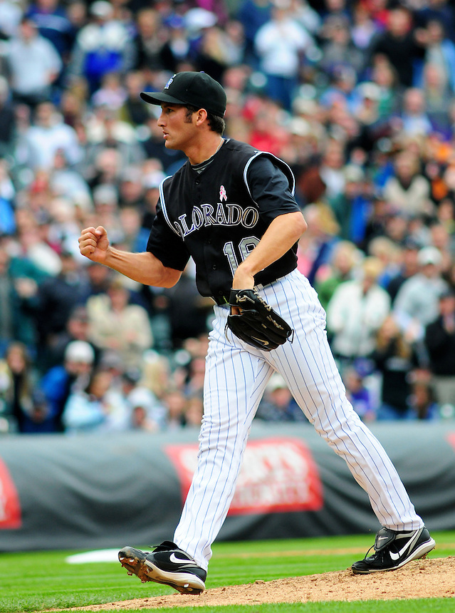 May 10, 2009: Rockies closer Huston Street celebrates a win for the Rockies and a save during a game between the Florida Marlins and the Colorado Rockies at Coors Field in Denver, Colorado. The Rockies beat the Marlins 3-2.