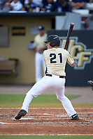UCF Knights shortstop Brennan Bozeman (21) at bat during a game against the Siena Saints on February 21, 2016 at Jay Bergman Field in Orlando, Florida.  UCF defeated Siena 11-2.  (Mike Janes/Four Seam Images)