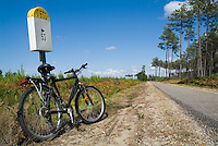Mountain bike parked against a French milestone D802 country road in Landes Forest, France.